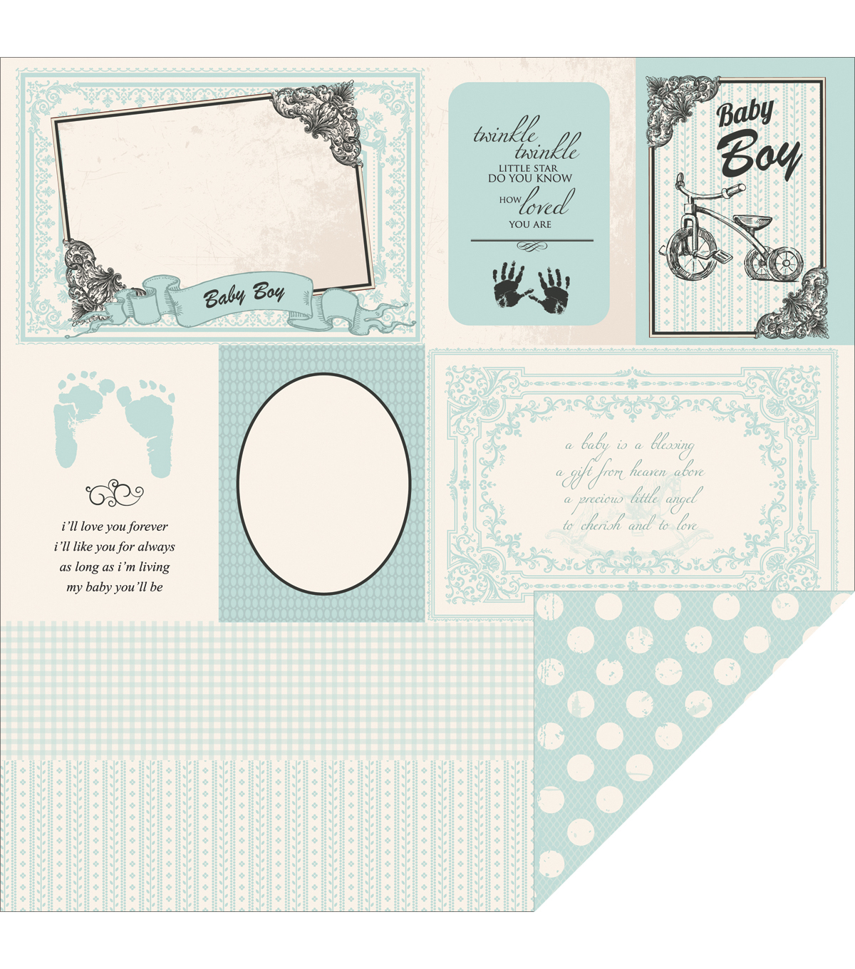 Kaisercraft Little Feet - Pitter Patter Double Sided Cardstock