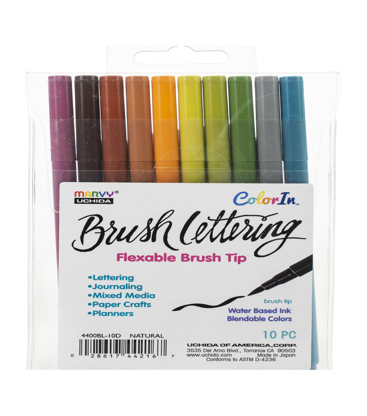 Marvy Uchida ColorIn 10 pk Brush Lettering Markers-Natural