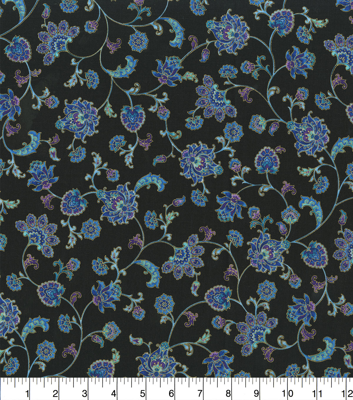 Premium Cotton Fabric-Budding Flower Vine on Black