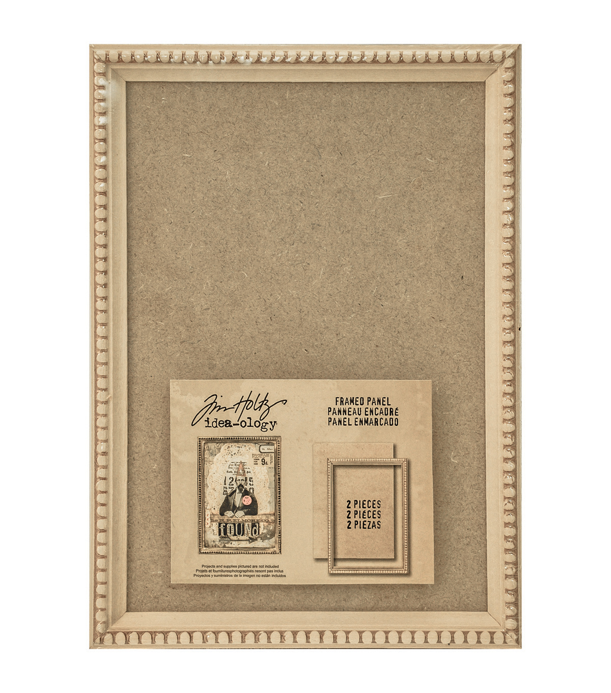 Tim Holtz Idea-Ology Framed Panel 9\u0022X6.5\u0022-Tan