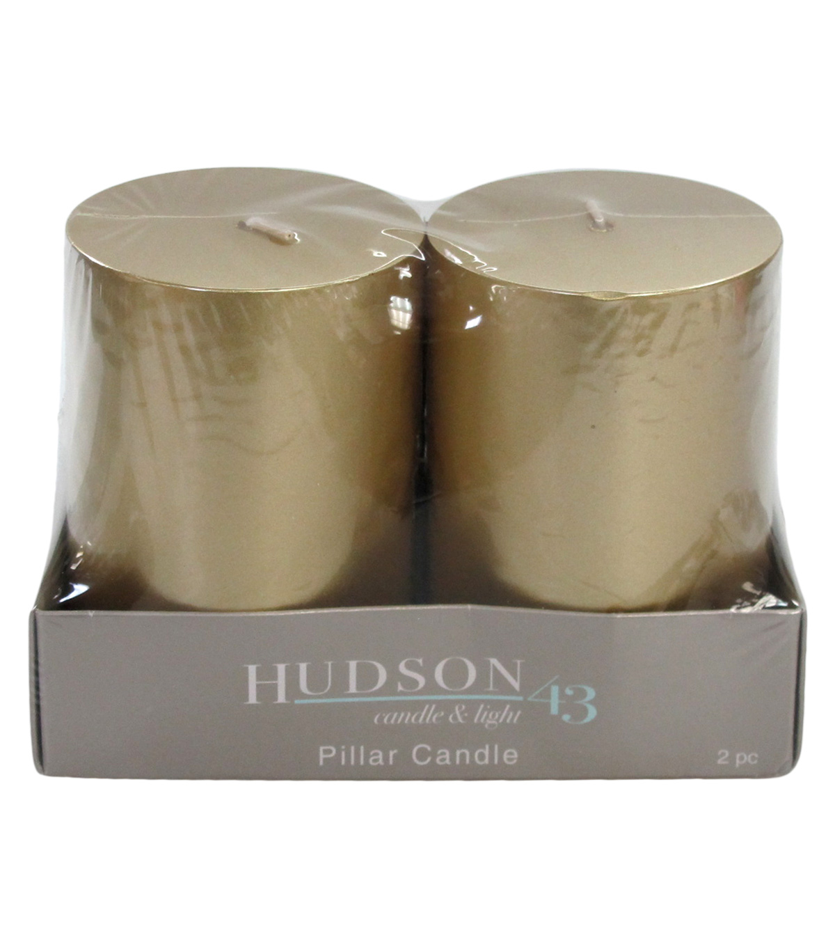 Hudson 43 Candle & Light Collection 2  Pack 3X4 Gold Pillar