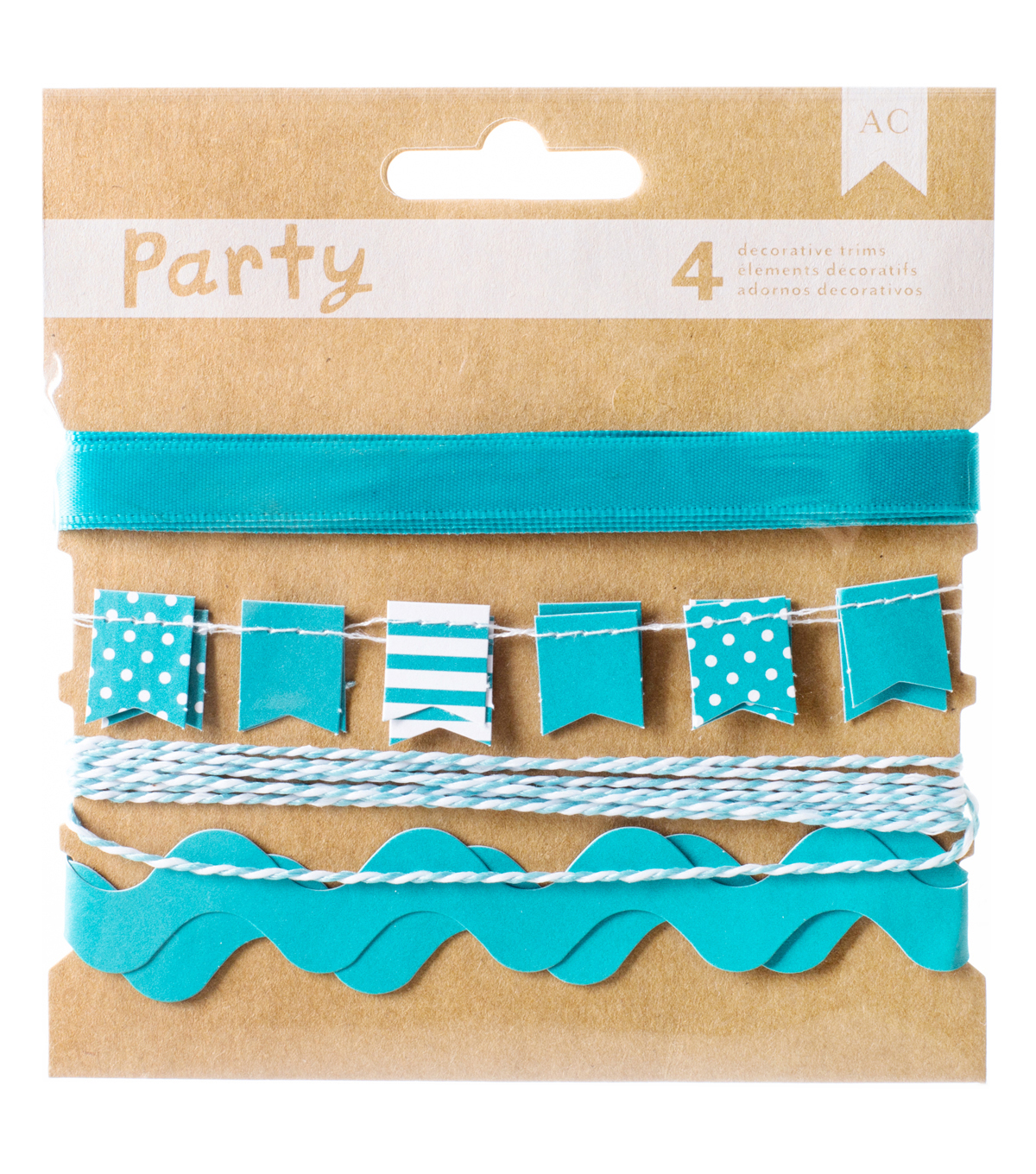 DIY Party Decorative Trims 4/Pkg-Blue & White