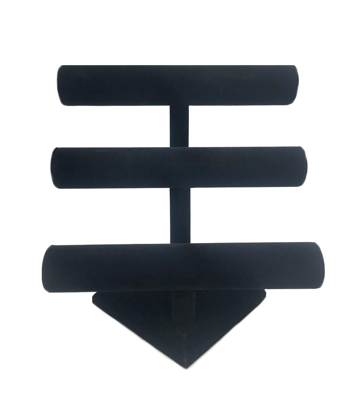 Darice Velvet Triple Bar Jewelry Stand Black