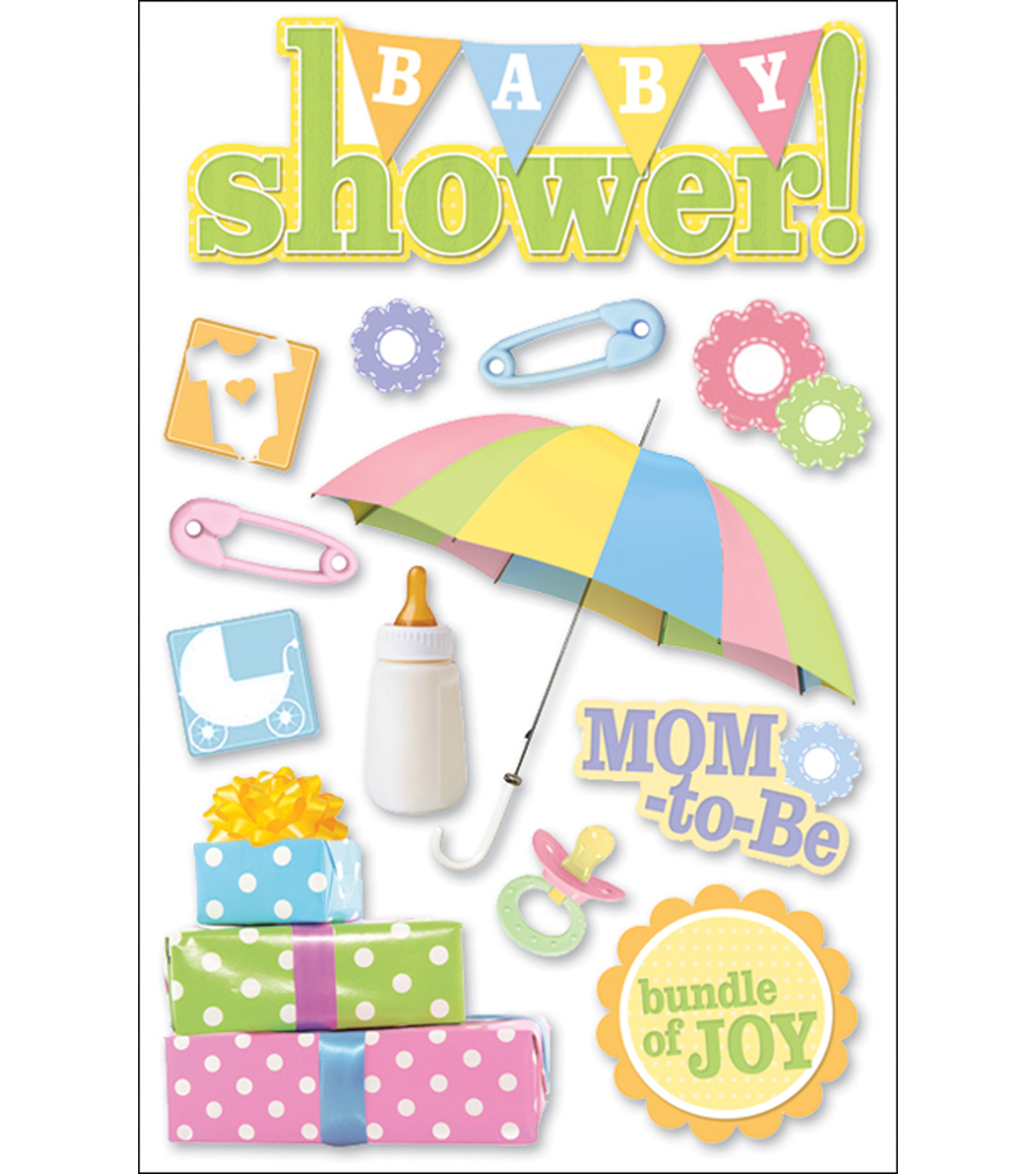 Paper House 3-D Sticker-Baby Shower
