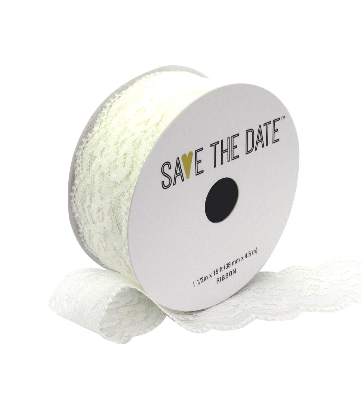 Save the Date 1.5\u0022 x 15ft Ribbon-White Lace