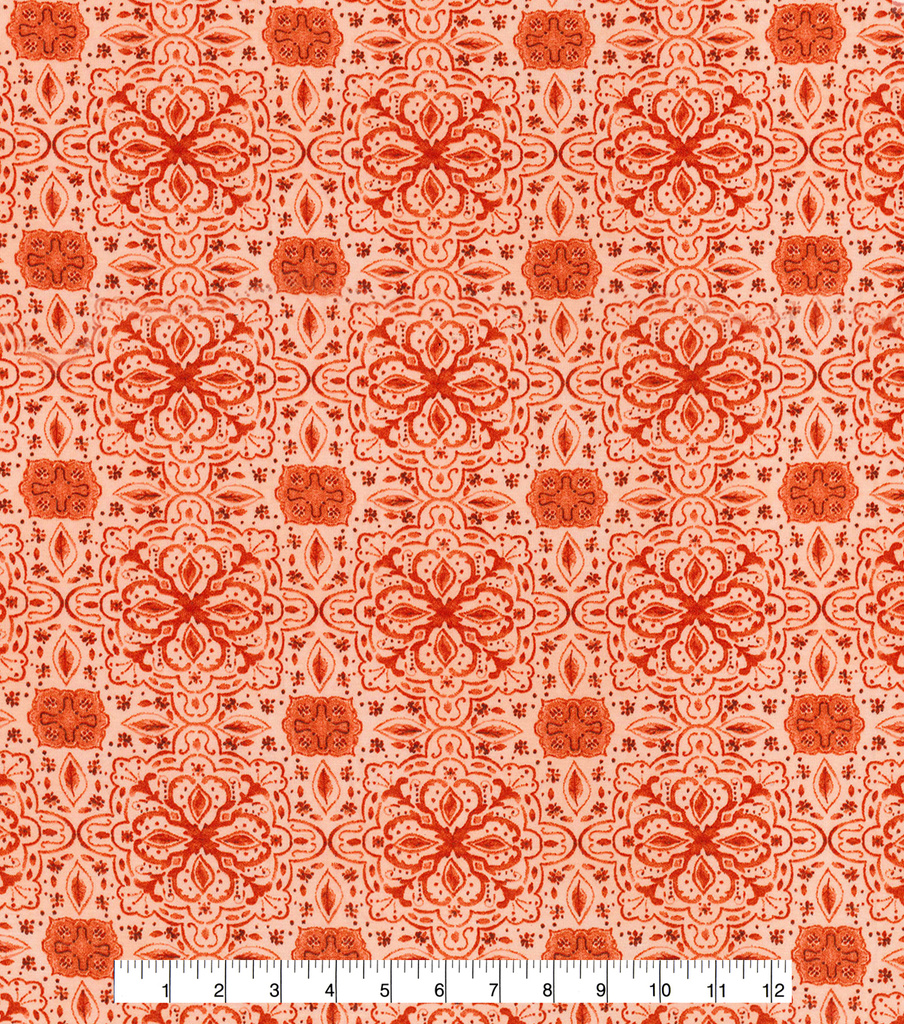 Kathy Davis Apparel Rayon Spandex Batik Fabric -Orange