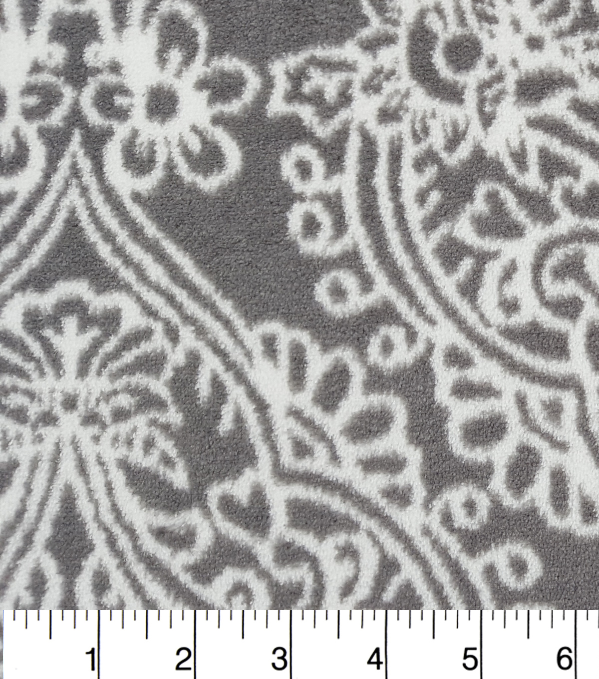 Ultra Fluffy Fleece Fabric 57\u0022-Gry and Wht Ikat Damask