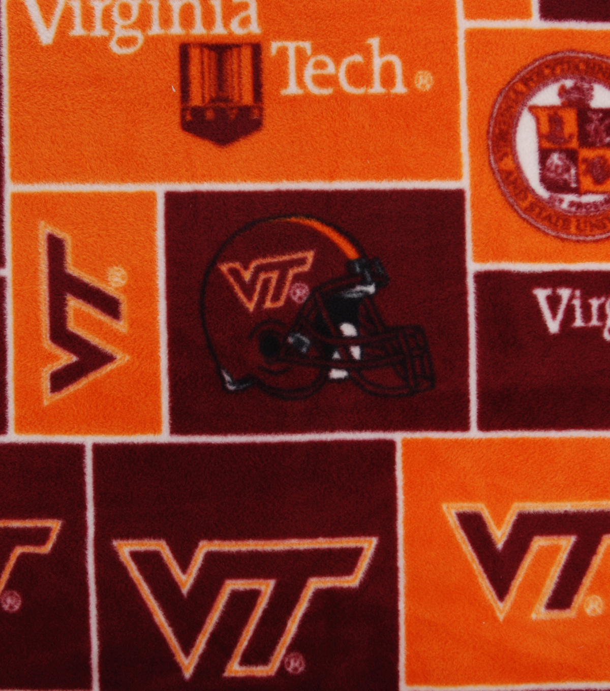 Virginia Tech Hokies Fleece Fabric -Block