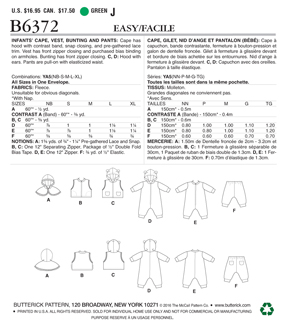 Butterick Pattern B6372 Infants\u0027 Cape, Vest, Buntings & Pants-Size NB-XL