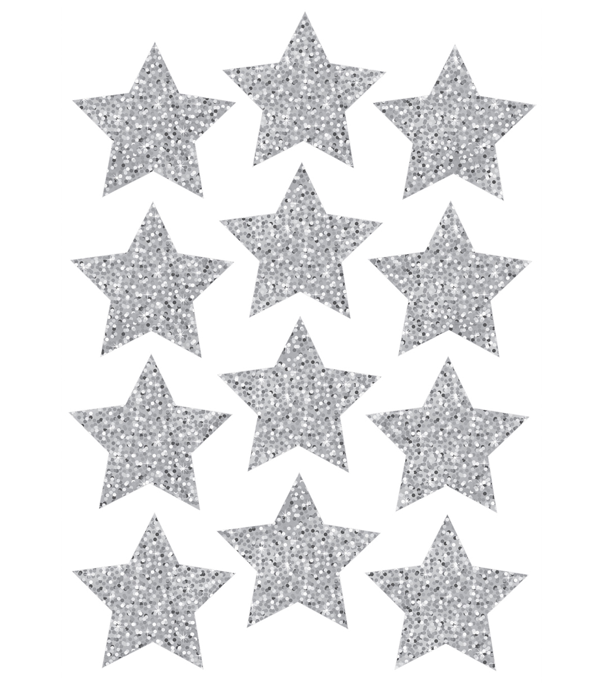 Die-Cut Magnets, 3\u0022 Silver Sparkle Stars, 12pcs/pk, Set of 6pks