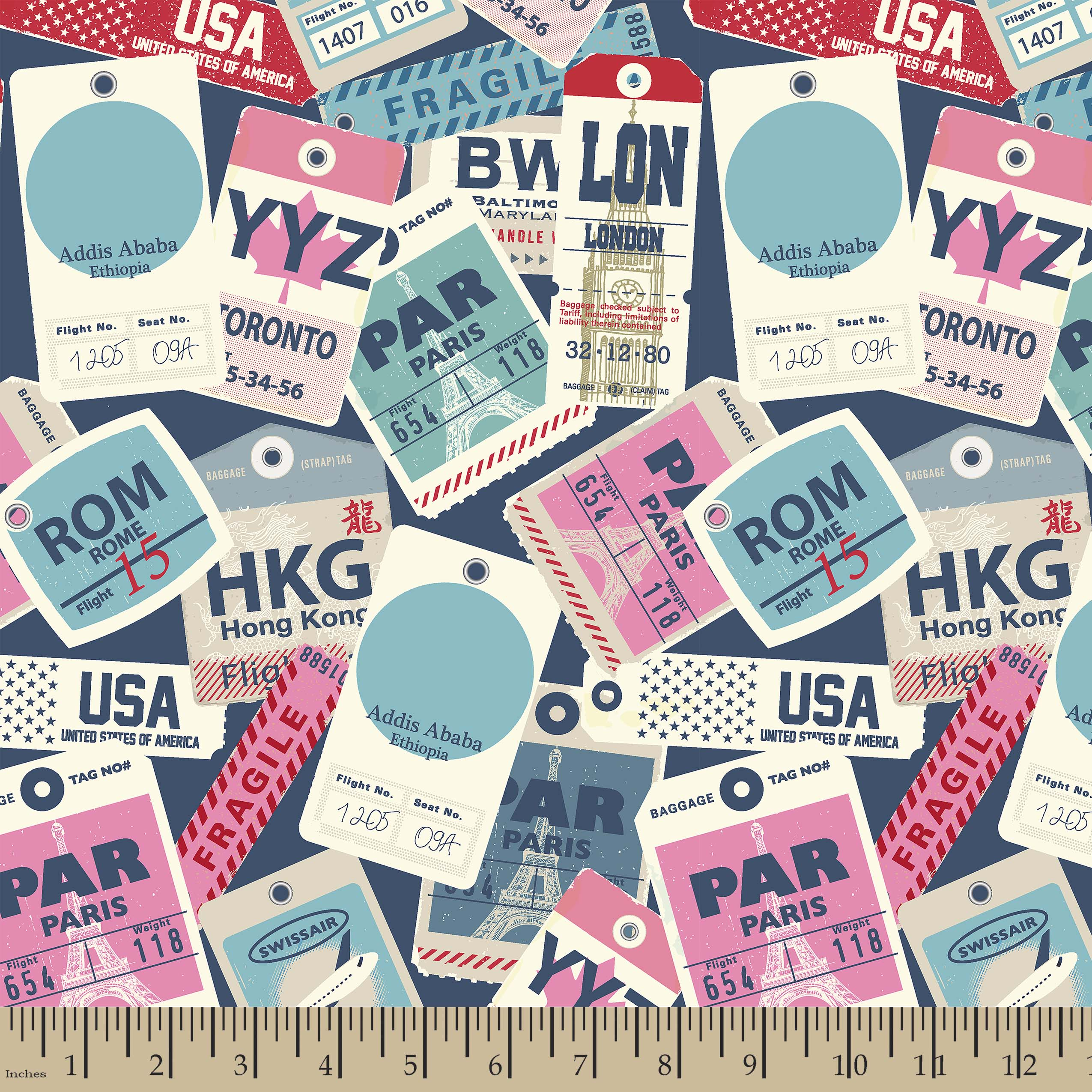 Baggage Tag Print Fabric