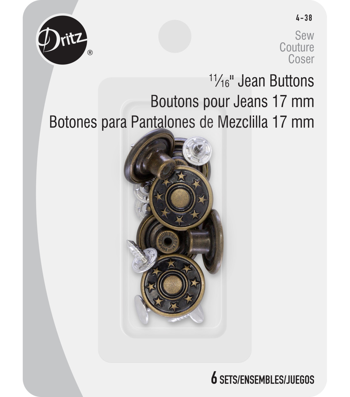 Dritz 11/16\u0027\u0027 No-Sew Bachelor Buttons 6pcs, Antique Brass