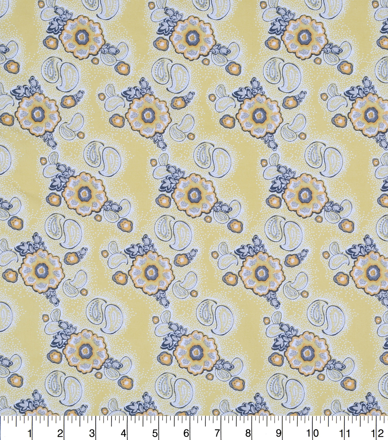 Keepsake Calico Cotton Fabric -Floral Paisley Yellow