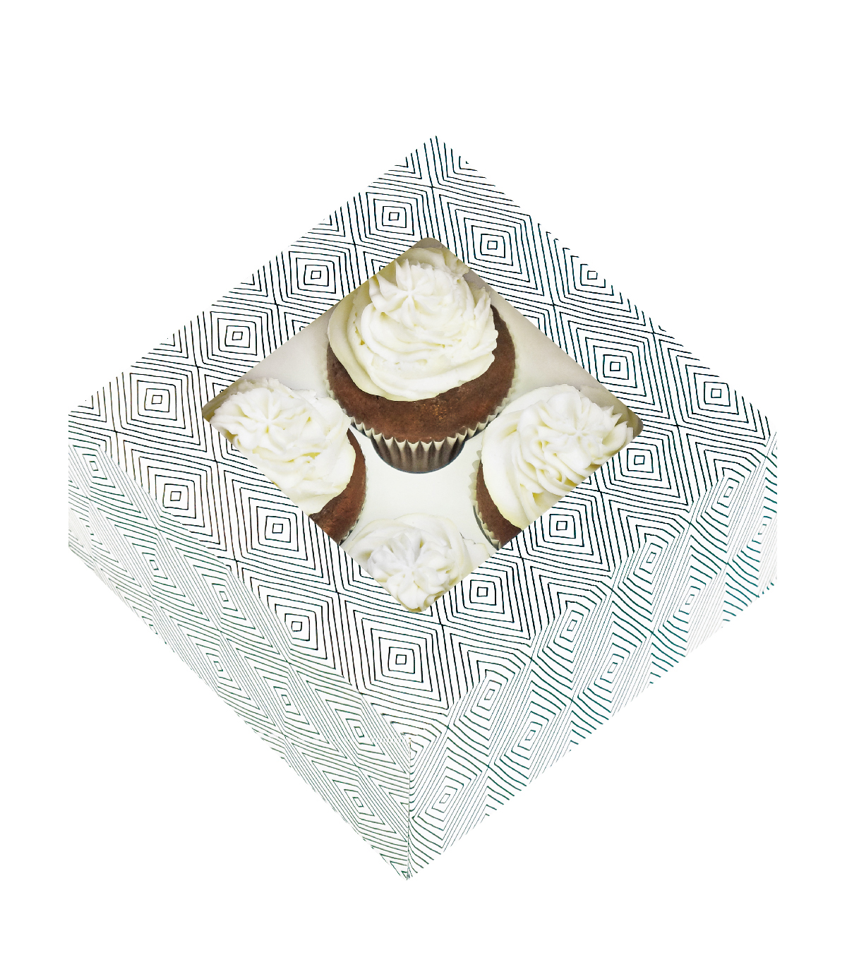 Cupcake Boxes-4 Cavity Colorwheel 3/Pkg