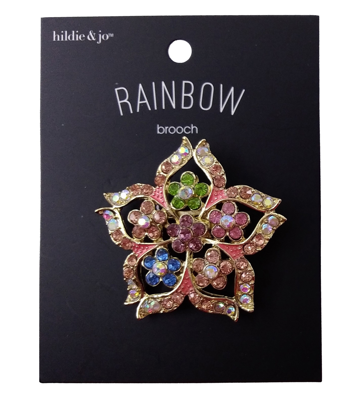 hildie & jo Rainbow Brooch-Flower Cut Out Multi Stone Gold