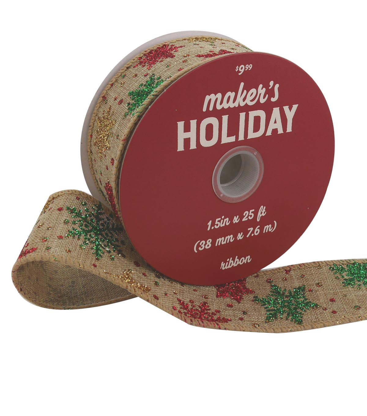 Maker\u0027s Holiday Christmas Ribbon 1.5\u0027\u0027x25\u0027-Glitter Snowflakes on Natural