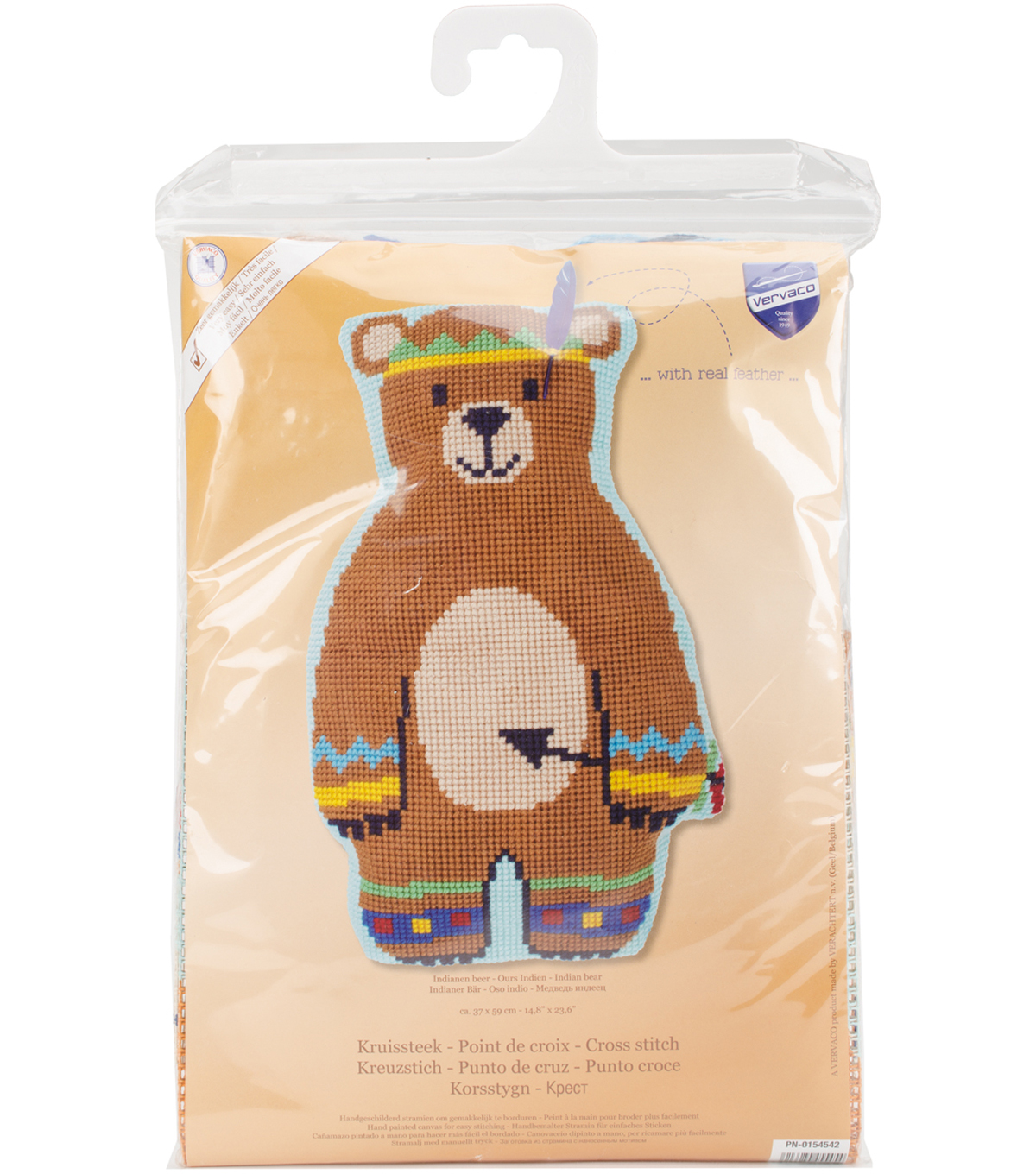 Vervaco 14.8\u0027\u0027x23.6\u0027\u0027 Indian Bear Shaped Cushion Cross Stitch Kit