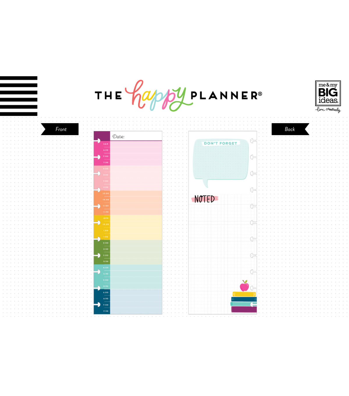 The Happy Planner BIG Half Sheet Note Paper-Hourly Color Block