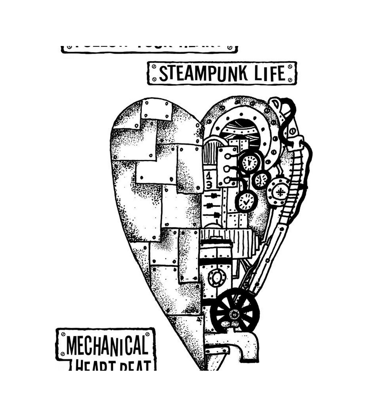 Stamperia Cling Stamp 5.90\u0027\u0027X7.87\u0027\u0027-Mechanical Heart