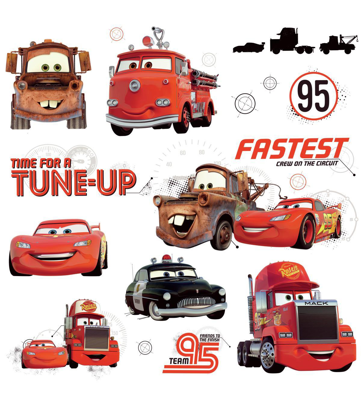 York Wallcoverings Peel & Stick Wall Decals-Cars Friends to the Finish