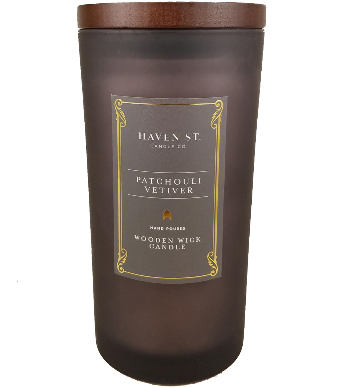 Haven St. Candle Co. 11 oz. Patchouli Vetiver Scented Wooden Wick Candle