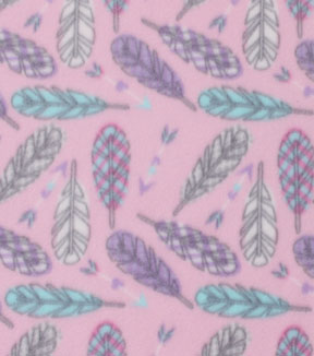 Blizzard Fleece Fabric 59\u0027\u0027-Pattern Trap Feathers
