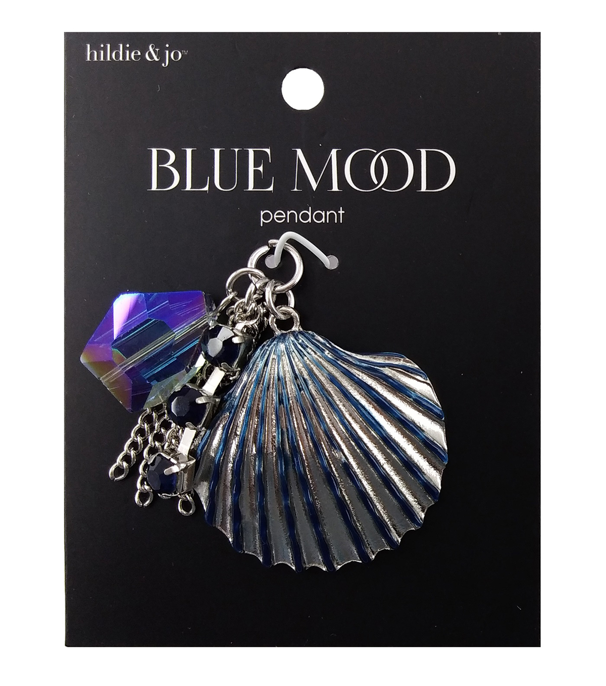 hildie & jo Blue Mood Pendant-Shell With Dangle Charms