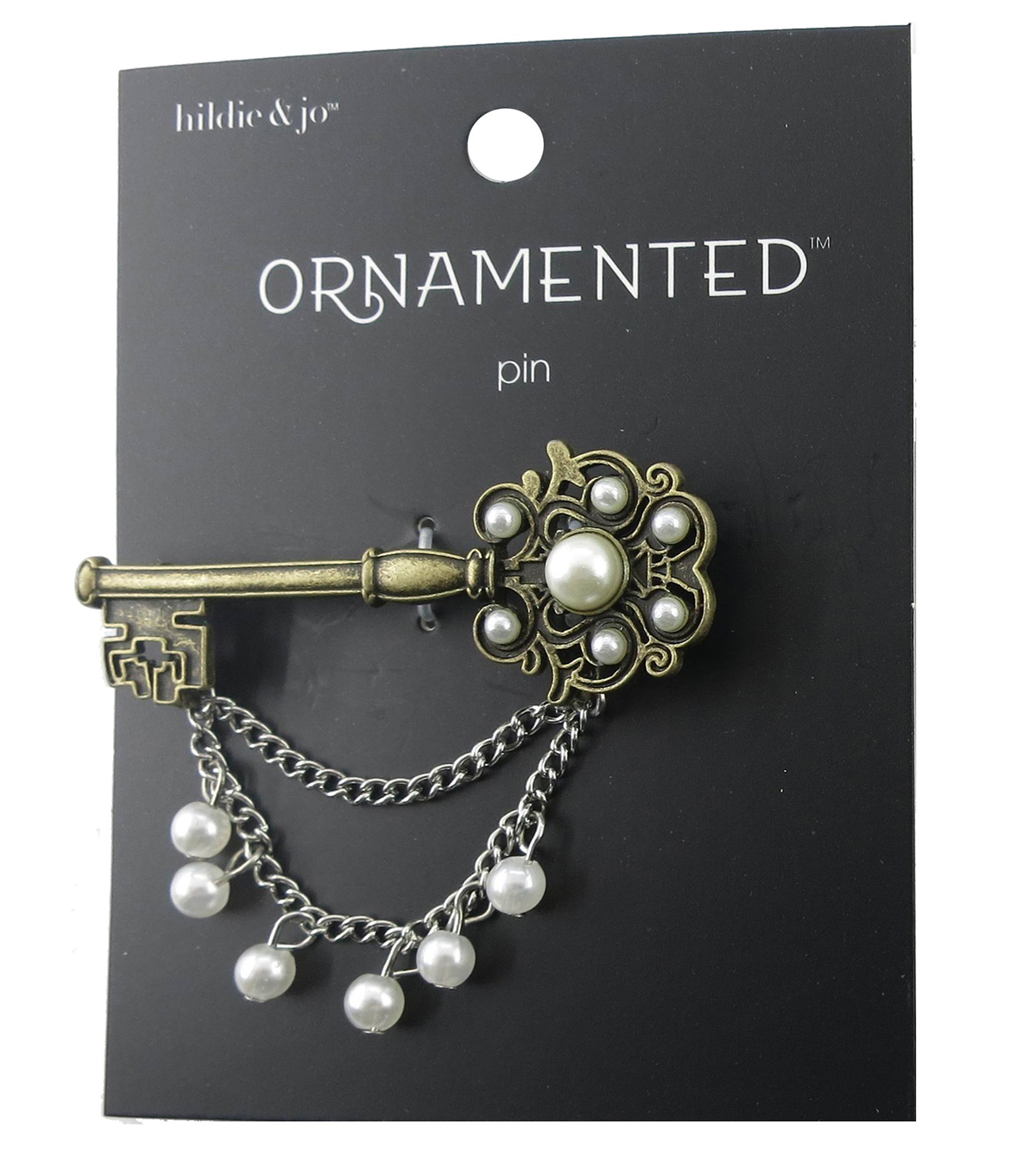 hildie & jo Ornamented Key Antique Gold Pin with Silver Chain