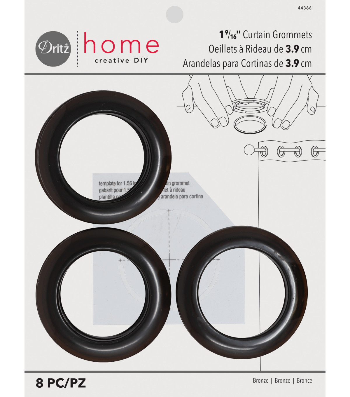 Dritz Home 1.56\u0027\u0027 Curtain Grommets 8pcs Brass, Bronze