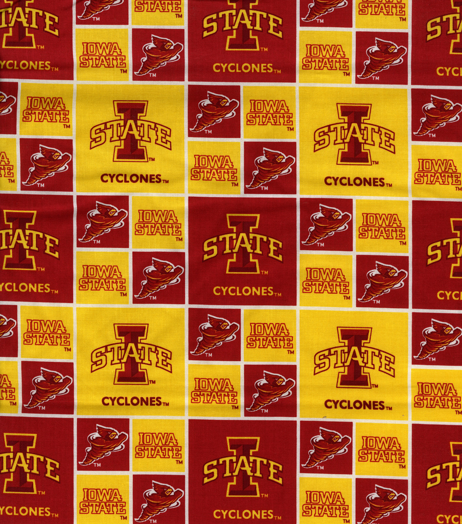 Iowa State University Cyclones Cotton Fabric 43\u0027\u0027-Block