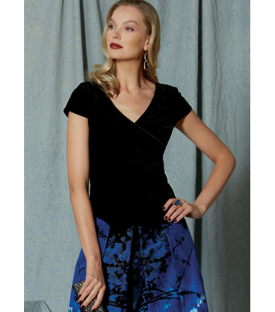 Vogue Pattern V1519 Misses\u0027 Surplice Top & Full, Pleated Skirt-Size 6-14