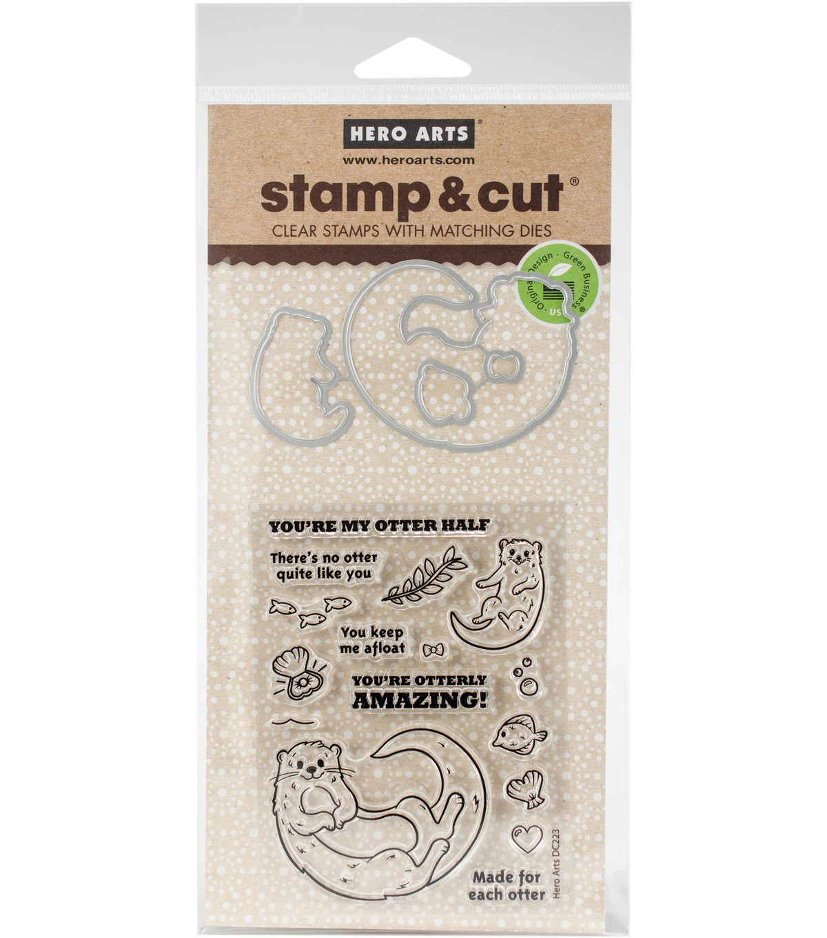 Hero Arts 16 pk Stamps & Cuts-Otter Family