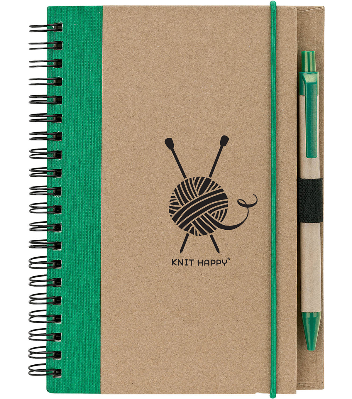 Knit Happy Eco Journal w/Pen-Green
