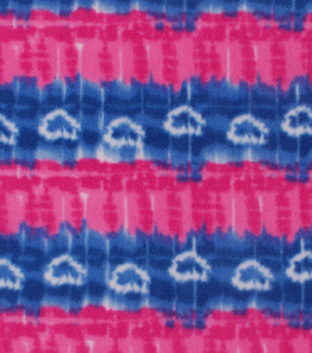 Anti-Pill Fleece Fabric -Pink Blue Tie Dye Stripe Hearts