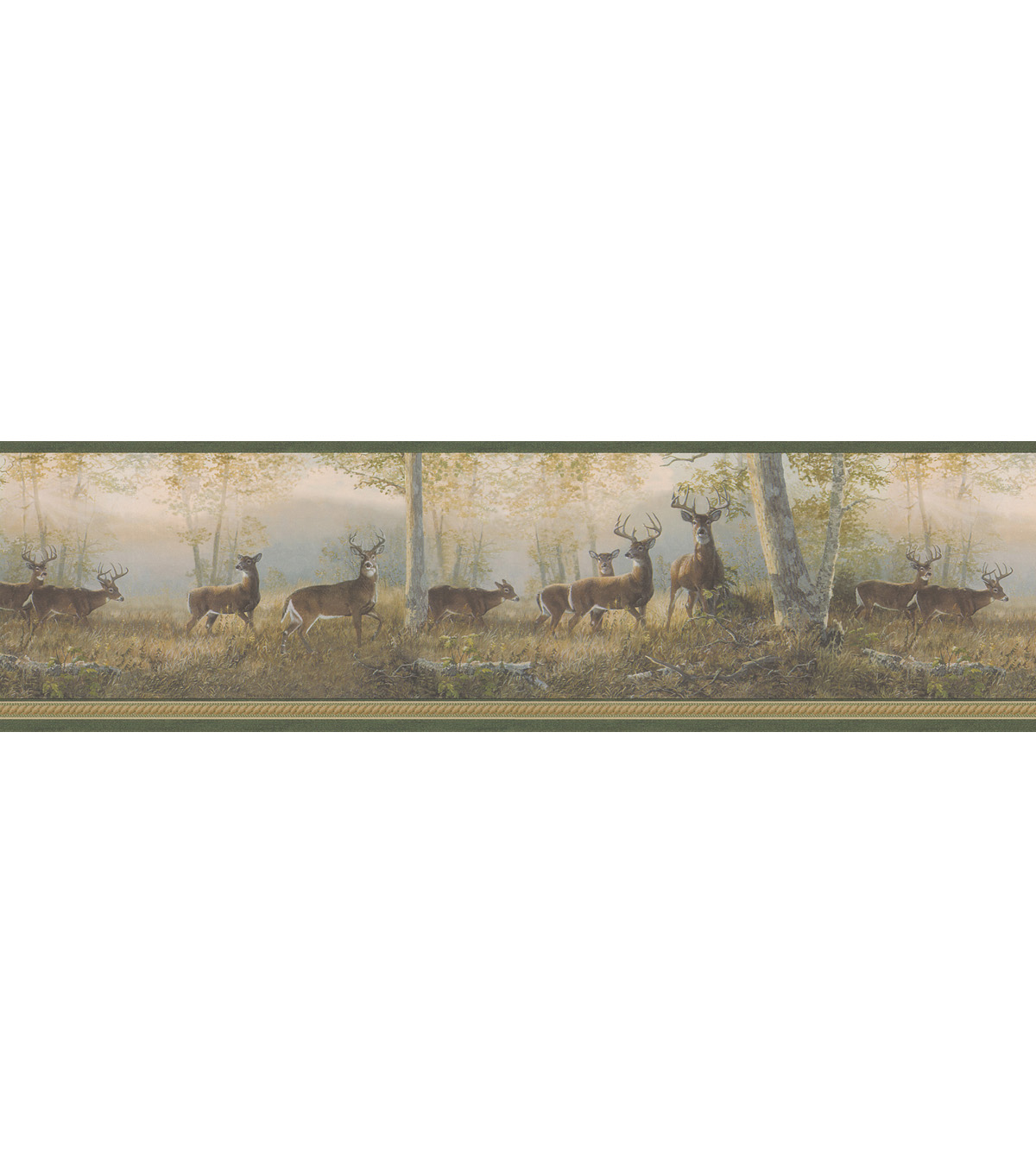 Running Green Deer Wallpaper Border Sample