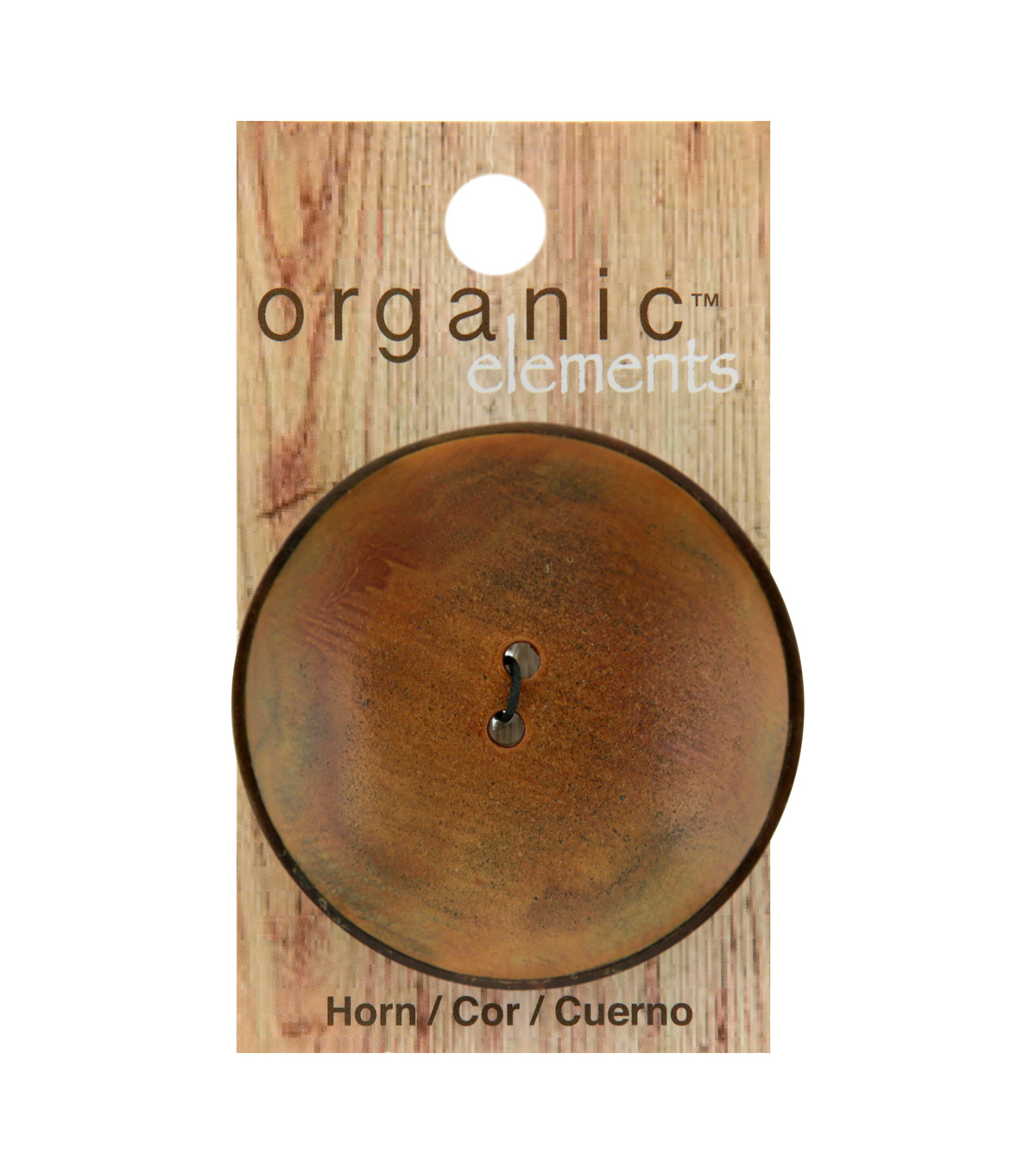 Organic Elements 50 mm Round Horn 2 Hole Button-Brown & Black