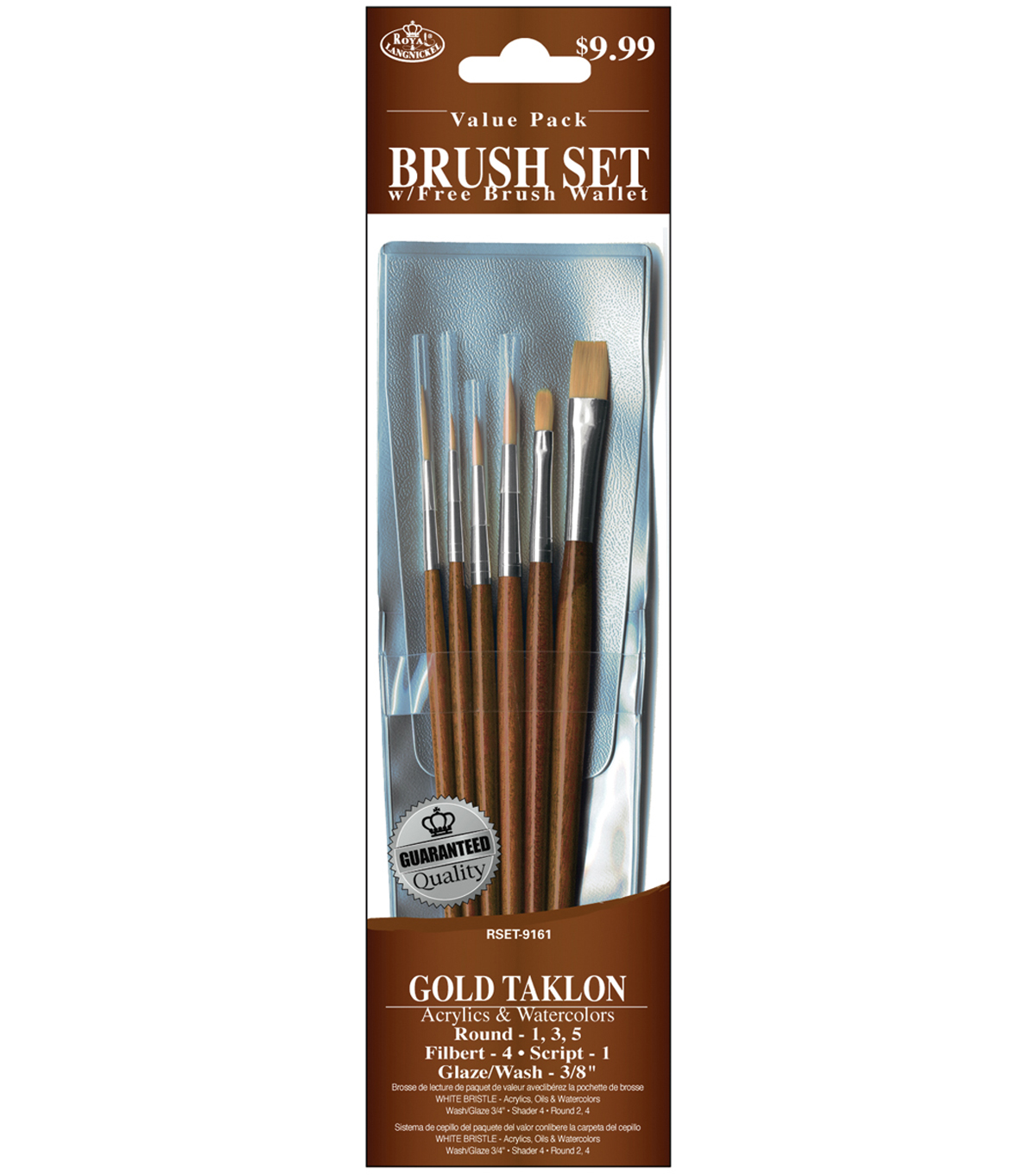 Gold Taklon Value Pack Brush Set 6 Pack