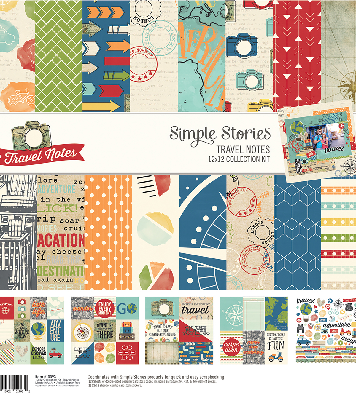 Simple Stories Travel Notes 12\u0027\u0027x12\u0027\u0027 Collection Kit