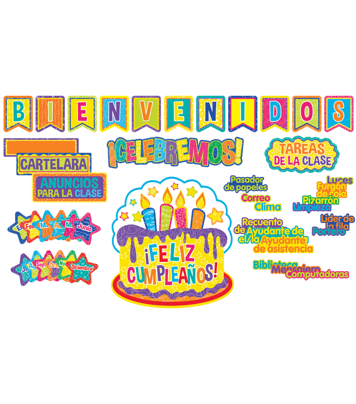 Color My World Spanish Welcome/Class Organization Bulletin Board Set
