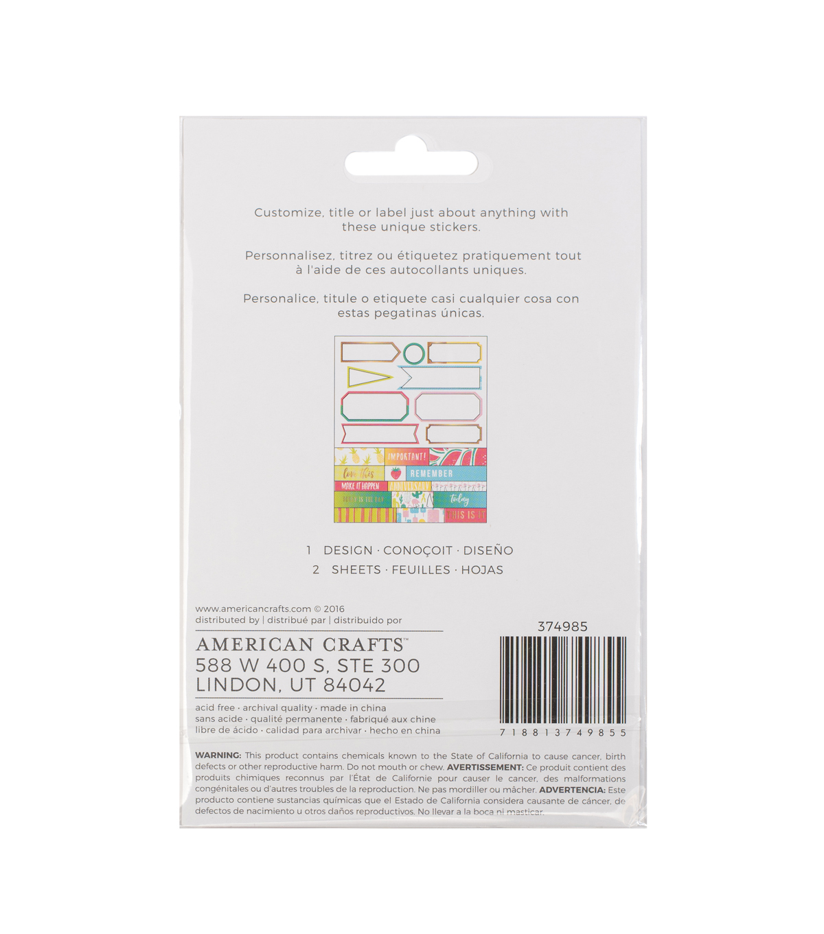 American Crafts 48 Pack Memory Planner Stickers-Label