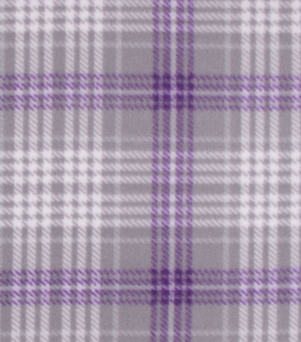 Blizzard Fleece Fabric 59\u0022-Madison Purple & Gray Plaid
