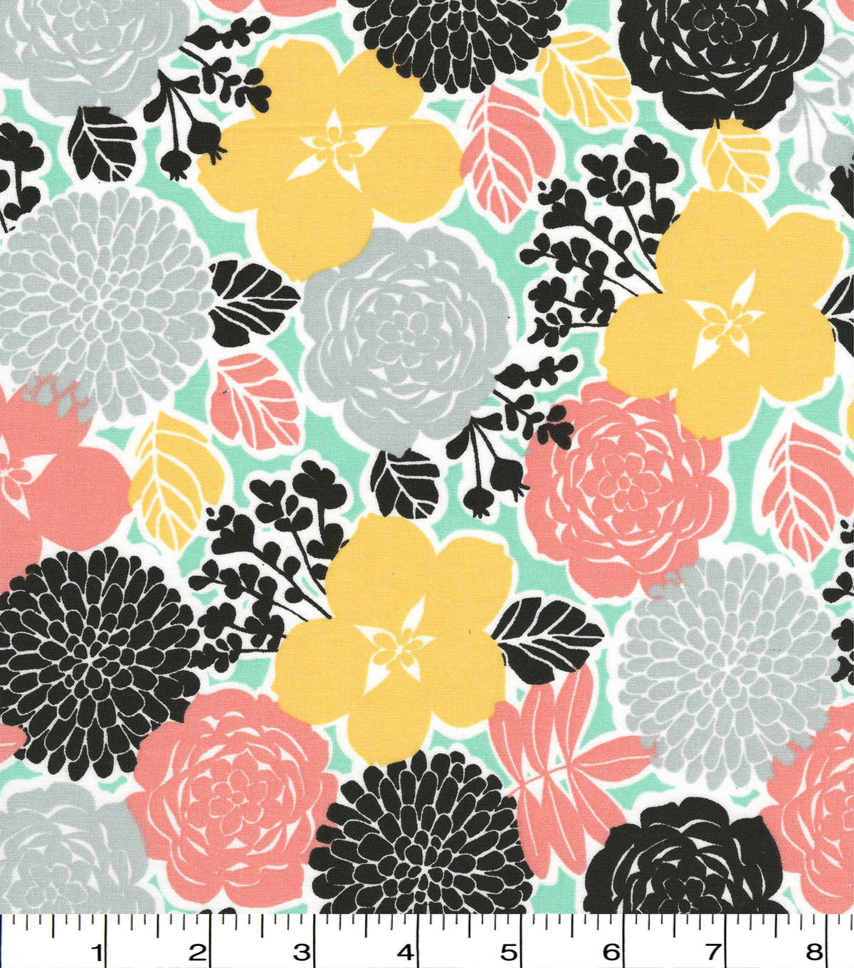 Quilter\u0027s Showcase Cotton Fabric -Black & Coral Floral Medallions
