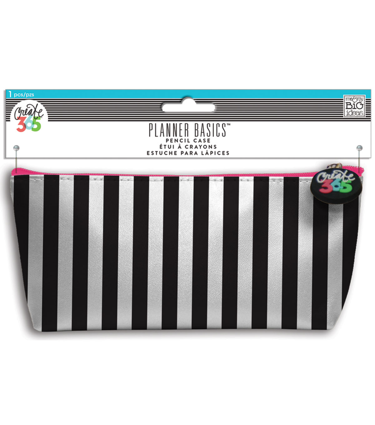Me & My Big Ideas Planner Basics 3.5\u0027\u0027x8.25\u0027\u0027 Pencil Case-Black & White