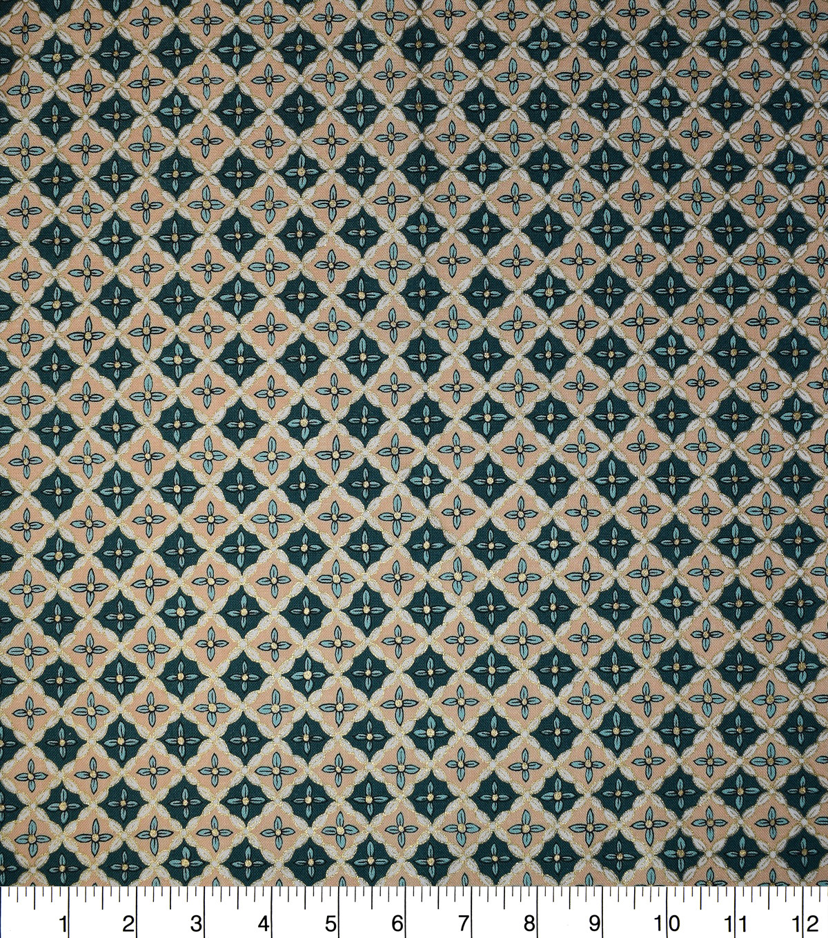 Premium Cotton Print Fabric -Teal & Metallic Packed Diamonds