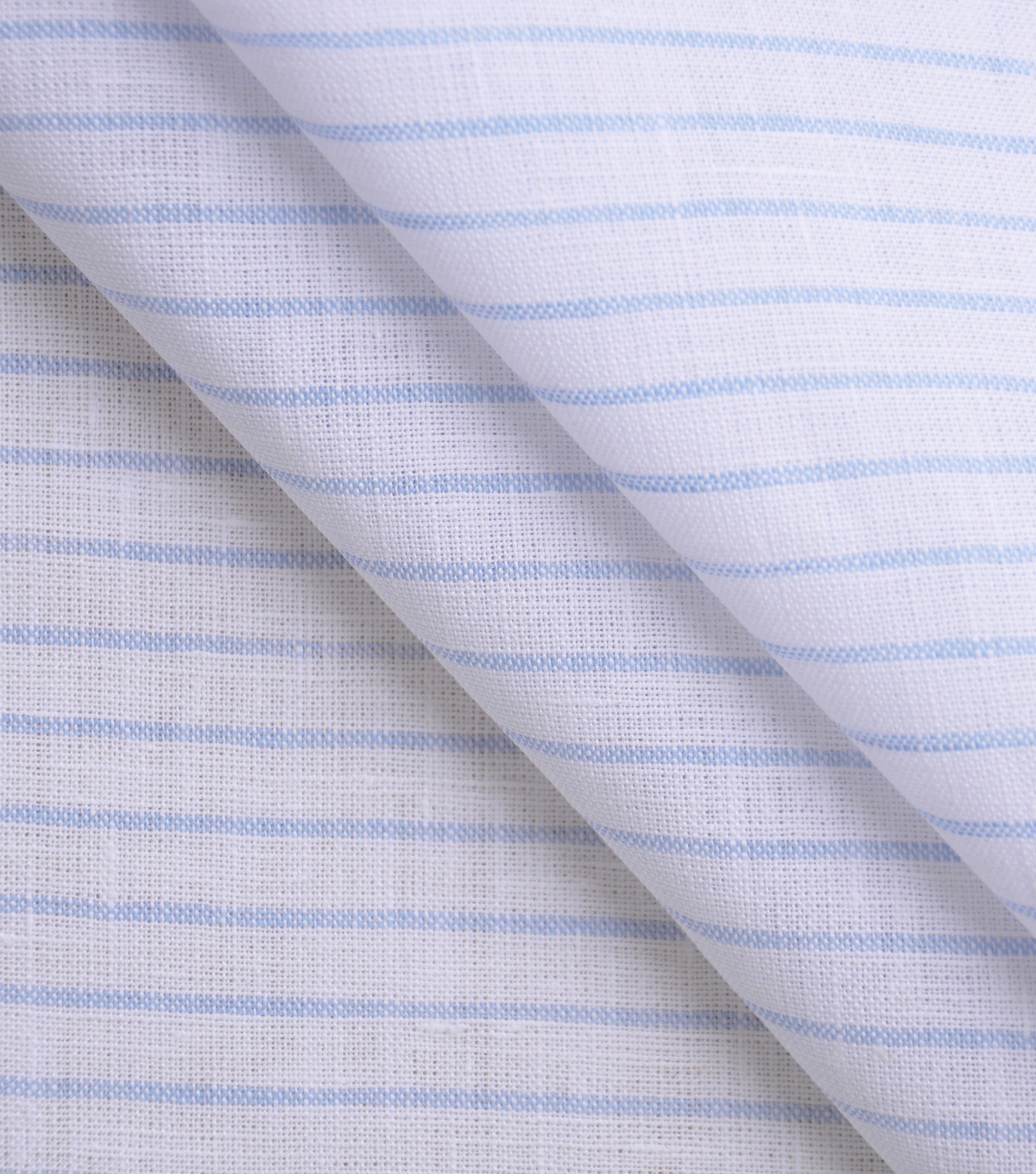 100% Linen Fabric-White Blue Thin Stripe YD
