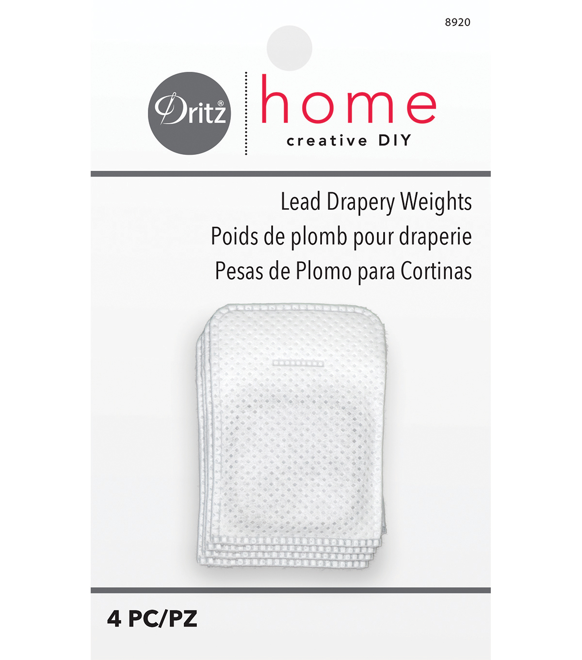 Dritz Drapery Weights 1\u0022 Square With Tab-4/Pkg