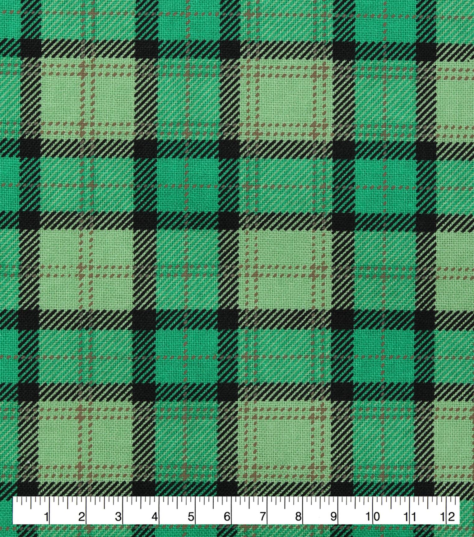 3684f983a68 St. Patrick's Day Cotton Fabric-Buffalo Plaid   JOANN