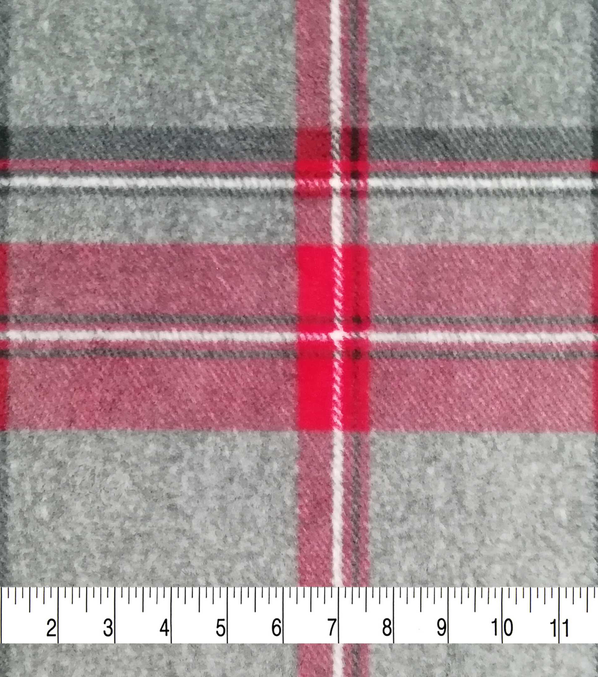 Specialty Luxe Fleece Fabric-Gray, Red & Black Plaid