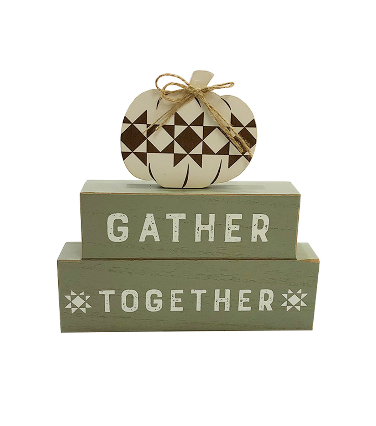 Simply Autumn Stacked Figural Pumpkin Word Block-Gather Together