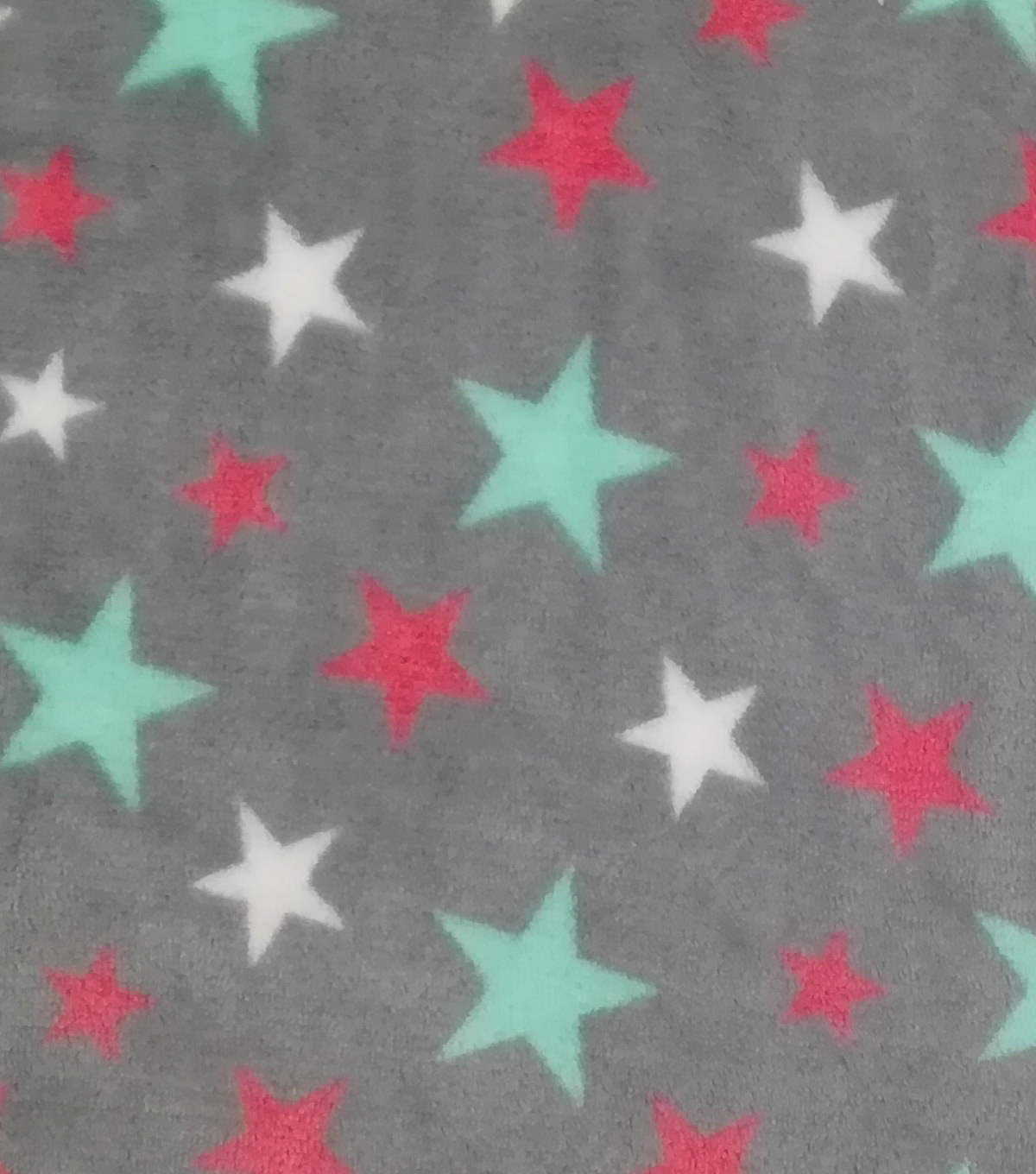 Sew Lush Fleece Fabric -Stars On Gray